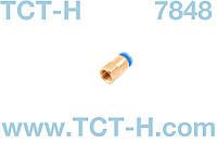 Цанговый фитинг пневматический пероходник 1/8 вн. штуцер 6мм