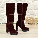 Сапоги женские демисезонные на высоком каблуке, натуральная кожа и замш. 37 размер., фото 2