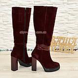 Сапоги женские демисезонные на высоком каблуке, натуральная кожа и замш. 37 размер., фото 3