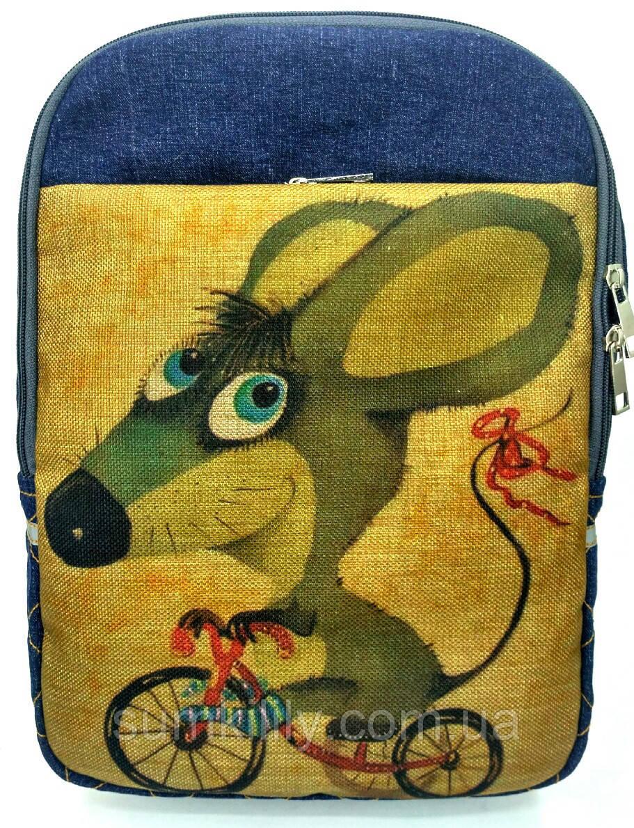 Джинсовый рюкзак Мышонок на велике 2