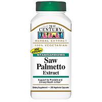 Saw Palmetto экстракт (пальма сереноа, «со пальметто») 21st Century, 200 капсул