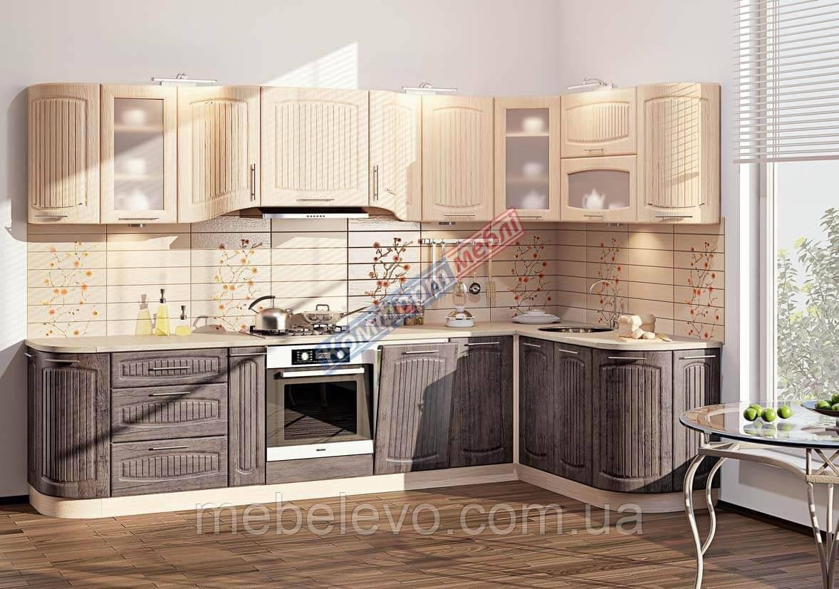 Комфорт Сопрано кухня КХ-280 дуб серебристый + дуб молочный 3.15 х 1.7 м