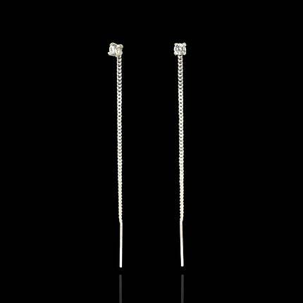 Серебряные серьги-протяжки с камнем, фото 2