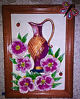 "Объёмная картина ""Цветы возле кувшина"" (ручная работа)"