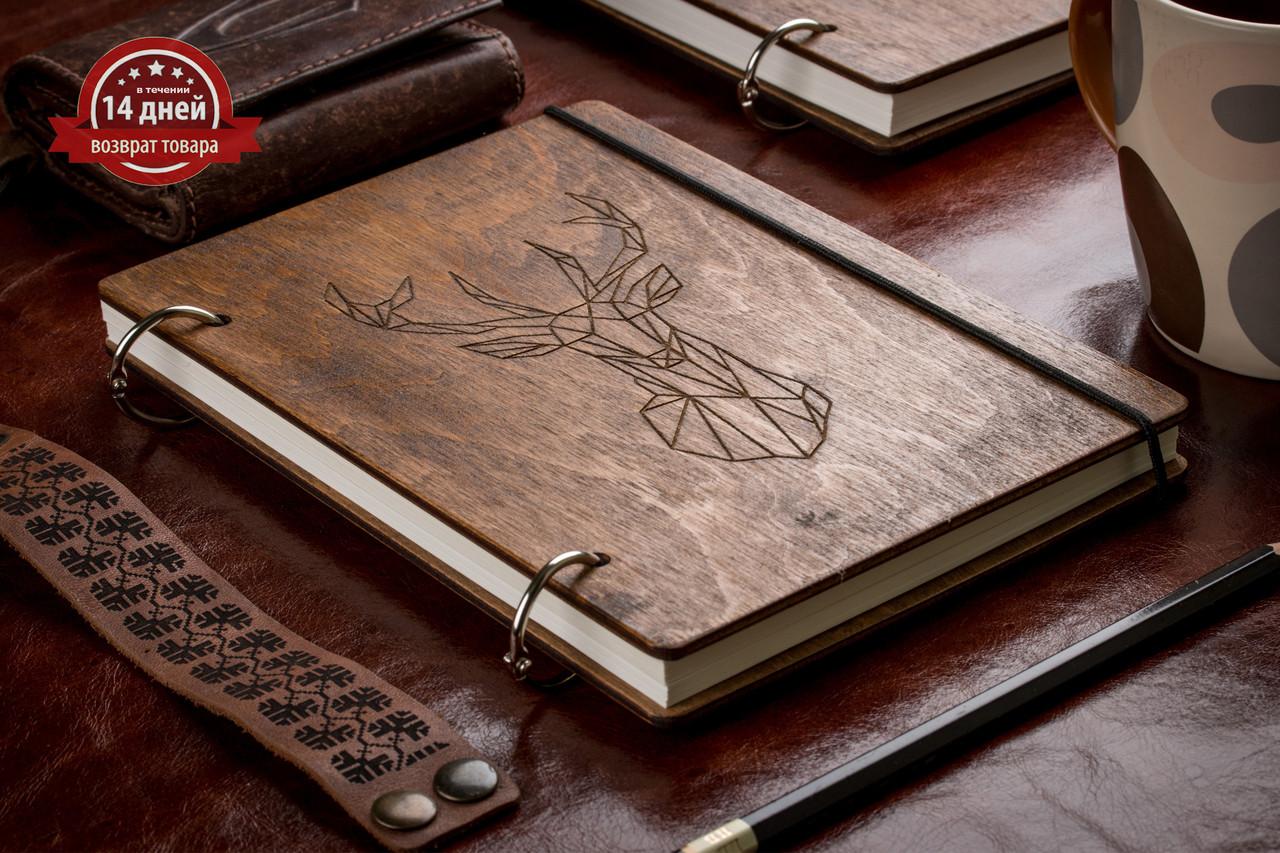 Скетчбук A5 Олень. Блокнот с деревянной обложкой.