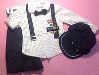 Костюм — котон 6-9-12-18 мес. Штаны  с рубашкой на подтяжках и кепкой