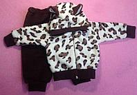 Костюм — махра 68-72-74 см.Костюмчик для мальчика и девочки расцветки леопард с ушками
