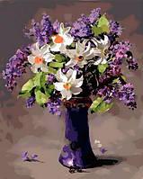 Картина раскраска по номерам на холсте - 40*50см Mariposa Q991 Нарциссы и сирень