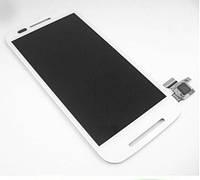 Дисплей (экран) для Motorola XT1021 Moto E, XT1022, XT1025 + тачскрин, цвет белый