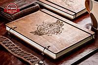 Скетчбук Owl. Блокнот с деревянной обложкой.