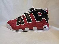Мужские кроссовки Nike Air More uptempo красные с черным, фото 1
