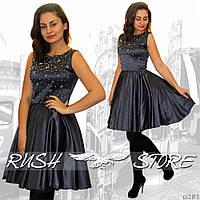 Атласное платье со стразами, фото 1