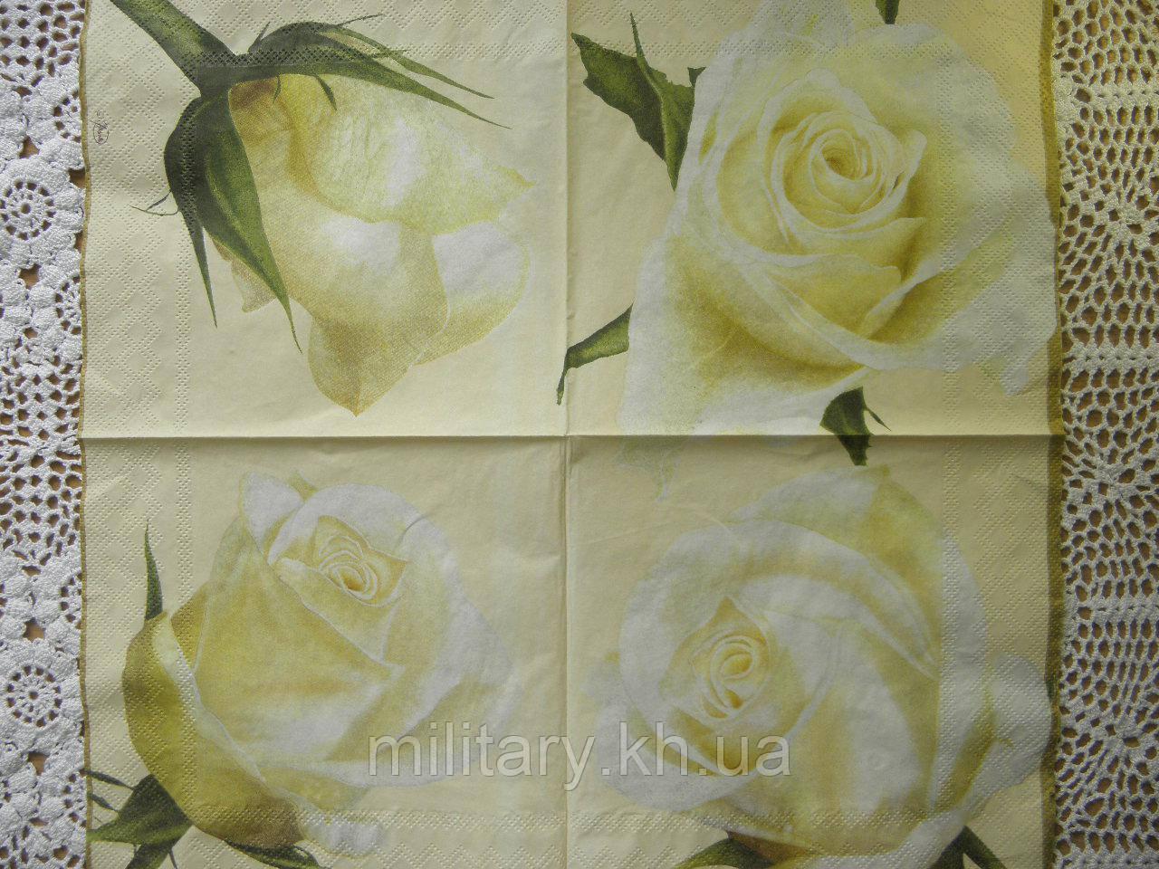 Салфетки для декупажа розы33*33 см