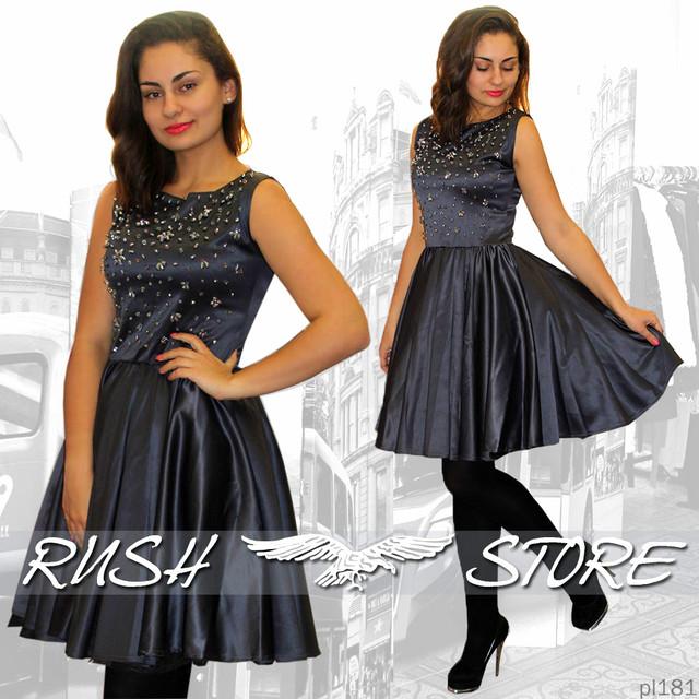 Атласное платье со стразами