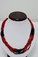 Бусы, красный коралл, черный хрусталь 5_5_261a1