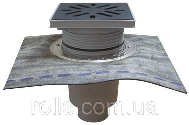 HL616HL/1 Дворовый трап серии Perfekt DN110 верт. с битумом, ьс морозоустойчивой запахозапирающей заслонкой.