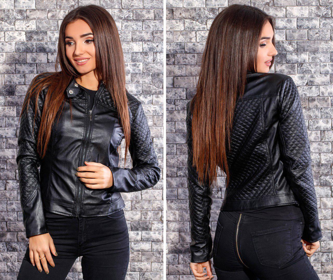 244389b4bfd0 Женская куртка, экокожа, р-р 42  44  46  48 (чёрный), цена 576 грн ...