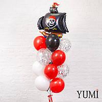 Композиция из шара Пиратский корабль черный, 4 черных, 4 белых, 4 красных и 4 прозрачных шаров с конфетти
