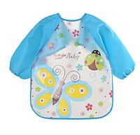 Слюнявчик с рукавами Бабочка Голубой (02403)