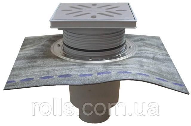HL616HS/1 Дворовый трап серии Perfekt DN110 верт. с битумом, нерж. сталь с морозоустойчивой запахозапира