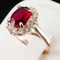 Стильное кольцо с кристаллами Swarovski, покрытое слоями золота 0558, фото 1
