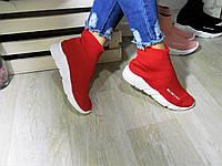 Женские высокие кроссовки  Balenc@aGa красные,обувной текстиль.Качество отличное!