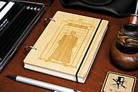 Скетчбук Doctor Who. Блокнот с деревянной обложкой Доктор Кто.