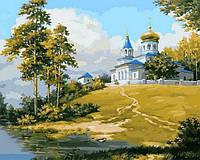Картина раскраска по номерам на холсте 40*50см Babylon VP846 Церковь на холме