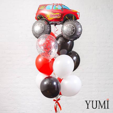 Фонтан из фигуры Красный джип, 4 белых, 3 черных, 3 красных и 2 прозрачных шаров с серебряным конфетти, фото 2