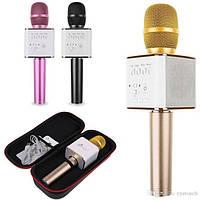 Беспроводной микрофон-караоке  Q7 MS (розовый, золото, черный) с чехлом ОПТ