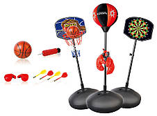 Спортивный комплекс 3 в 1, детская баскетбольная стойка, дартс, боксерская груша,  98-178 см, фото 2