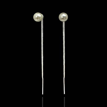 Серебряные серьги-протяжки Жемчужина, фото 2