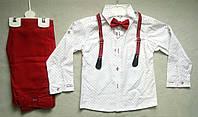 Нарядный детский костюм с бабочкой и подтяжками для мальчиков 5-8 лет