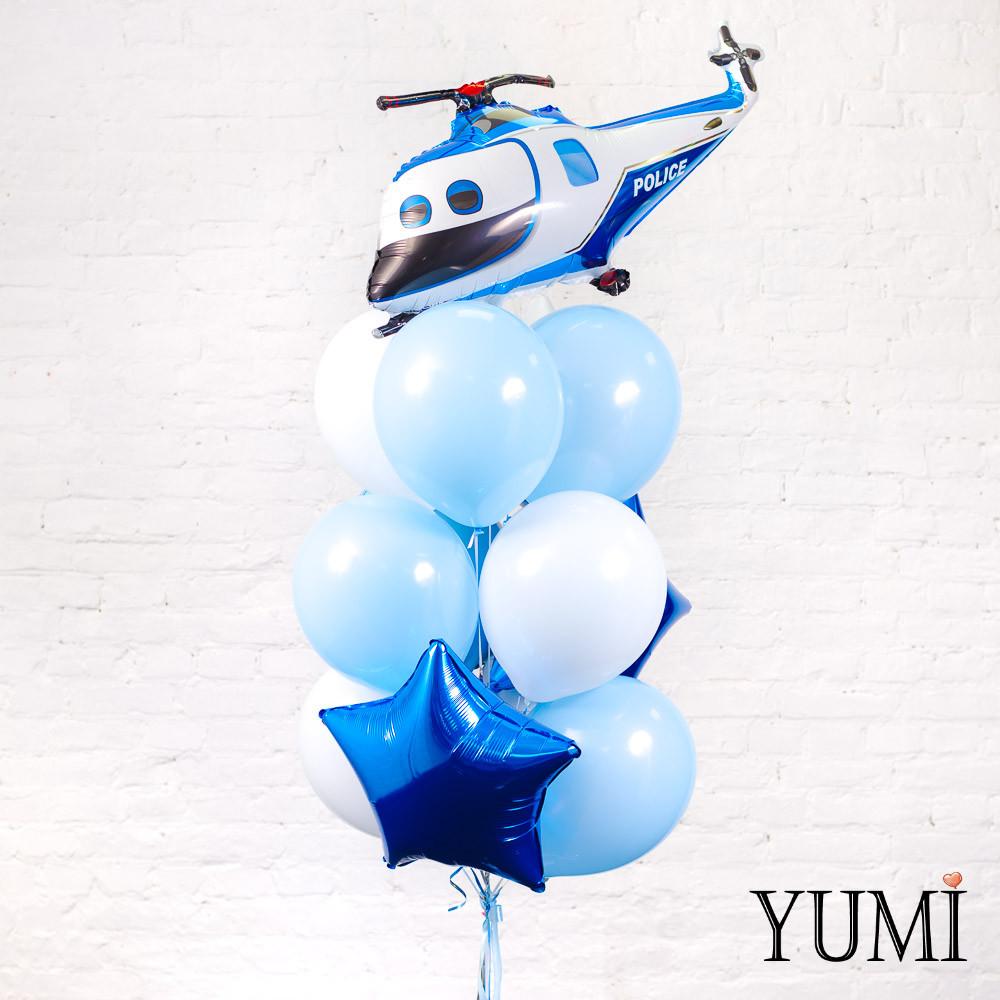 Связка из шара Вертолет полиции, 2 синих и 1 белой звезды, голубого круга, 4 голубых и 4 белых шаров