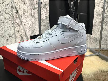 Nike Air Force 1 Mid White AAA, фото 2