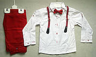 Нарядный детский костюм с бабочкой и подтяжками для мальчиков 1-4 года