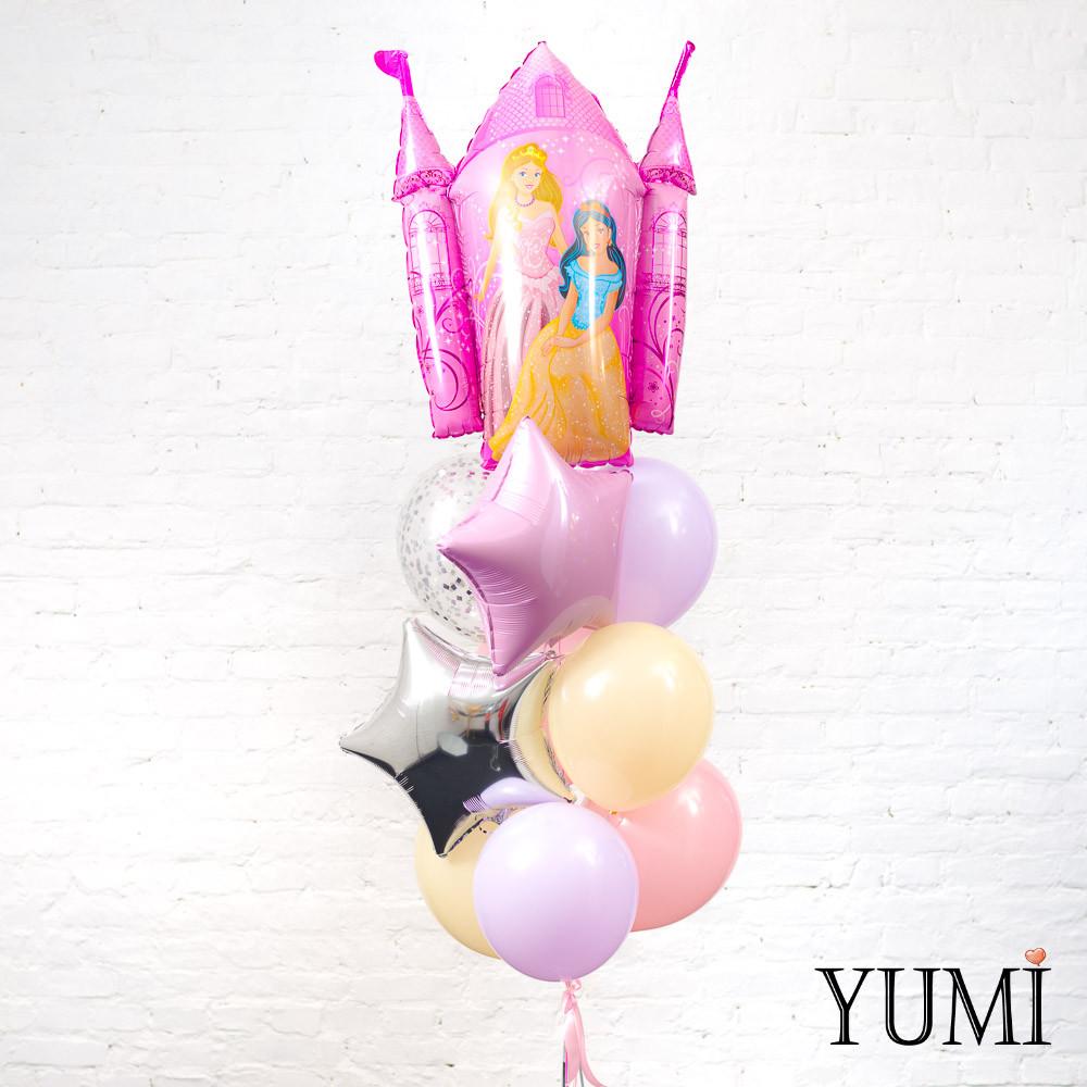 Фонтан из фигуры Замок принцессы, розовой, серебряной звезды, 6 пастельных шаров и 1 шара с конфетти