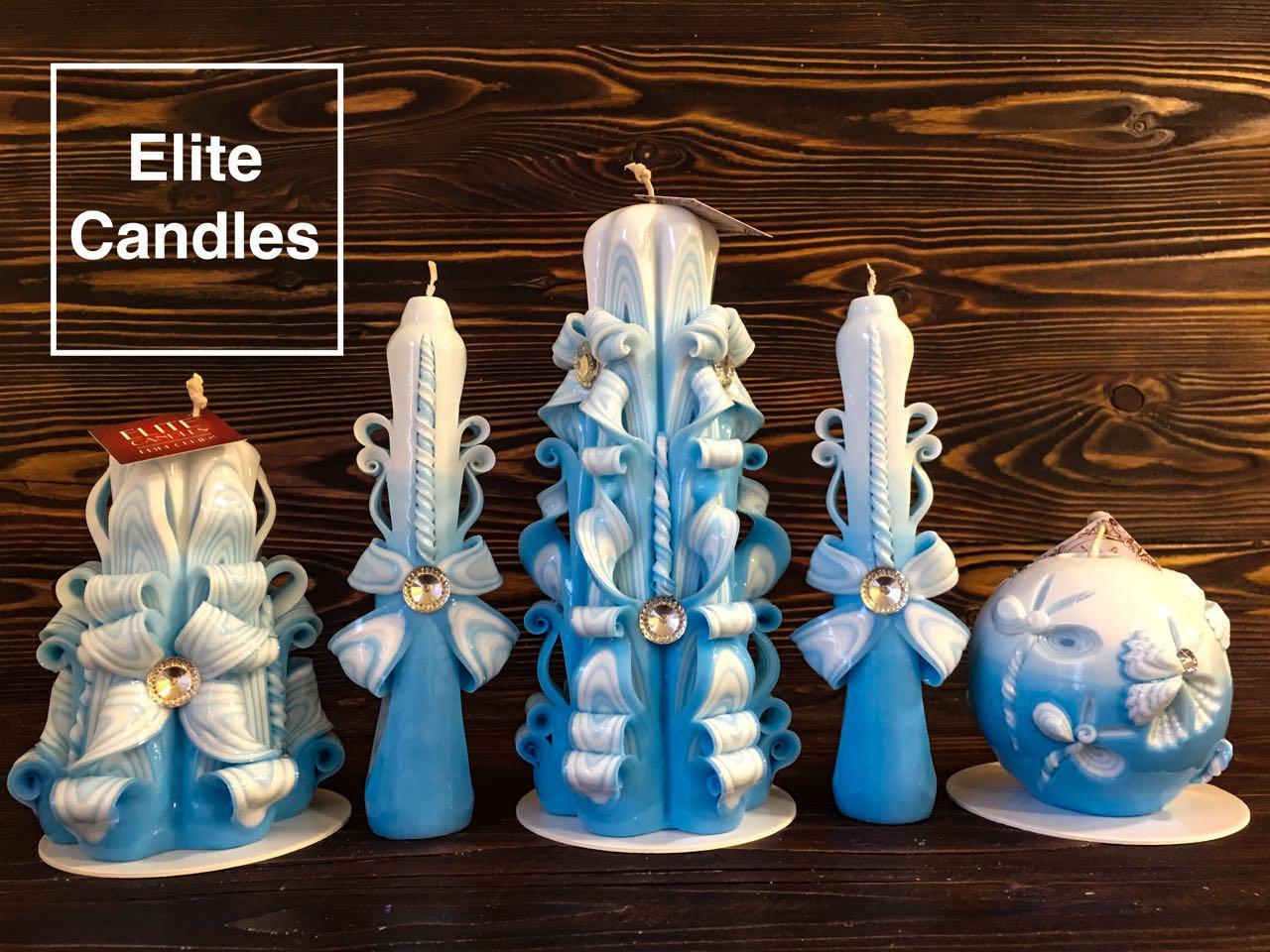 Набор синих резных свечей на подарок