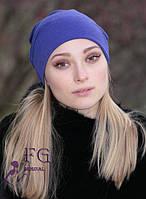 Женская шапка-чулок из трикотажа цвета электрик