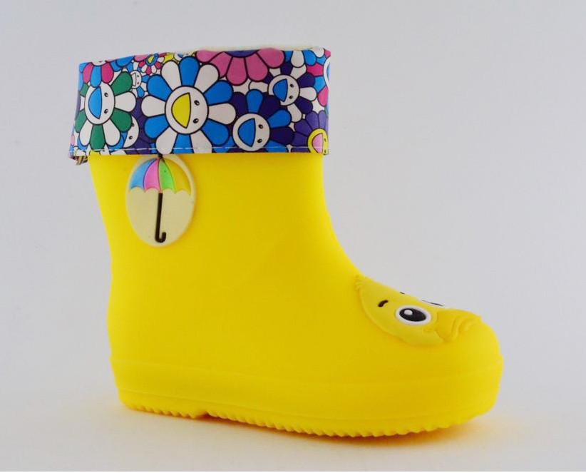 Резиновые сапоги для мальчиков и девочек, желтые