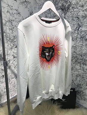 Sweatshirt Gucci Angry Cat Appliqué White, фото 2