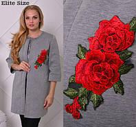 Кардиган женский стильный аппликация роза XL + (2 цвета)