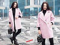 Женское кашемировое пальто Кимоно розовое