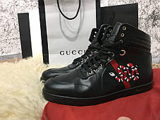 Gucci High Top Snake Embroidered Sneaker Black, фото 2