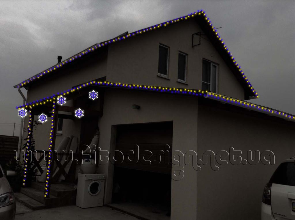 украшение частного дома светодиодными гирляндами Киев
