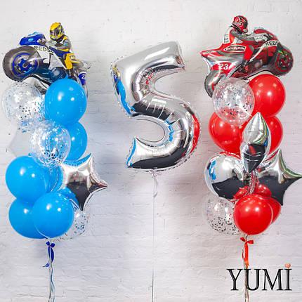 Композиция из фольгированной цифры на грузик и двух фонтанов: синий и красный мотоциклист, фото 2