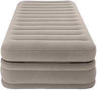 Надувная велюр кровать Intex 64444 с встроенным эл. насосом 220В,  99-191-51 см