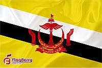 Флажок Брунея 13,5*25 см., плотный атлас
