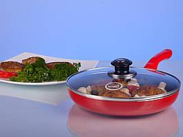 Сковорода 22см с крышкой красная Hilton FP 2233