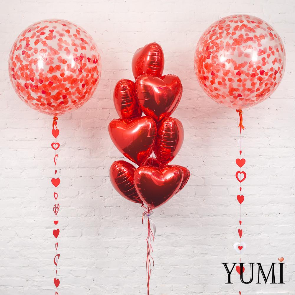 Оформление из гелиевых шаров ко Дню Влюбленных